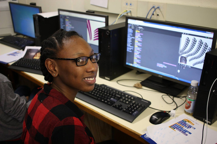 student working in CSnap